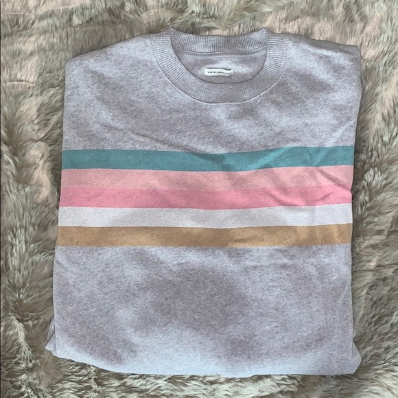 American Eagle Outfitters Sweaters - Grey w/ Colourful Stripes Sweatshirt